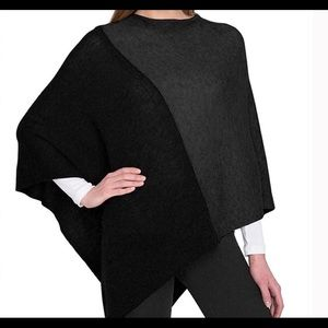 Celeste wool/cashmere sweater poncho black/gray